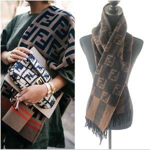 ❌SOLD❌FENDI Vintage Wool Fringe Scarf in brown